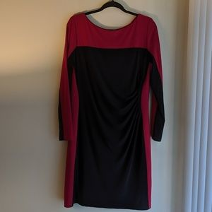Color Block Ruched Long Sleeve Dress XL